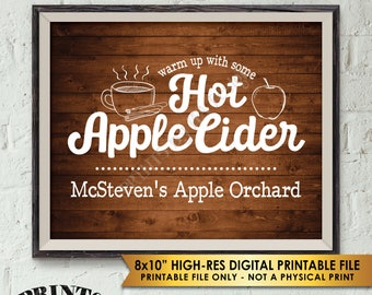 "Hot Apple Cider Sign, Custom Cider Sign, Autumn Fall Apple Orchard Signature Drink Sign, Rustic Wood Style PRINTABLE 8x10"" Apple Cider Sign"