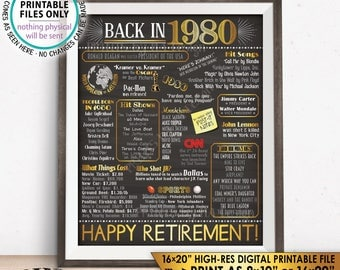 "Retirement Party Decorations, Back in 1980 Poster, Flashback to 1980 Retirement Party Decor, Chalkboard Style PRINTABLE 16x20"" Sign <ID>"
