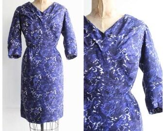 Vintage 1950's Navy Blue Silk Floral Dress Wiggle dress goodwood revival original silk dress vintage wedding fifties silk day dress UK 12
