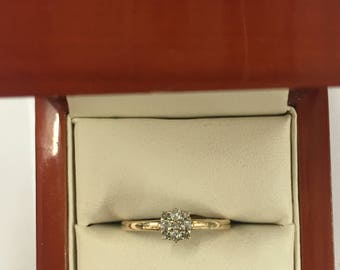 Vintage 9ct Yellow Gold Cluster Ring Size Q