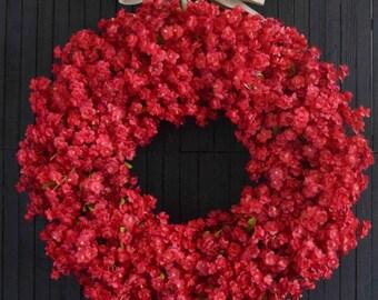 Red Ruffle Flower Wreath, Front Door Wreath, Summer Fall Winter Wreath, Christmas Wreath, Large Red Wreath, Housewarming Christmas Gift