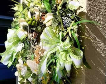 Summer Wreath, Coastal Wreath,Beach Wreath,Seashell Cottage Wreath,Seashell Wreath,Seahorse Wreath,Natural Summer Wreath,Mothers Day Wreath