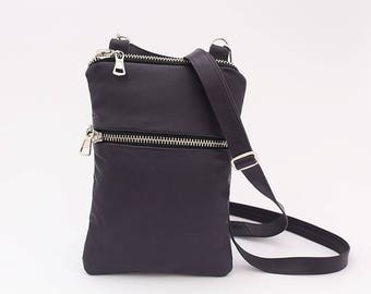 Small Crossbody Bag, Dark Purple Leather Bag, iPhone 8/ 7 / 6 plus, Iphone X, iPhone 8/ 7/ 6, Samsung Galaxy, Travel Bag, Christmas gift