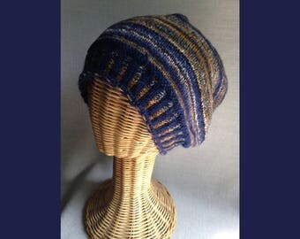 My Own Hand-spun Hat - Blue and Brown Slouch/Beret - Targhee Wool