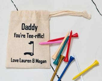 Father's Day Golf Tee pouch with Tee's