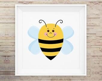 Baby Bee, Wall Art, Nursery, Print, Poster, Cartoon, Cute