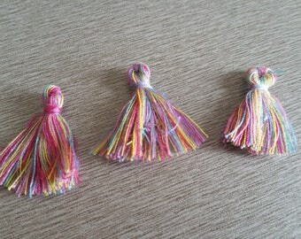 4 tassels cotton multicolor 20mm