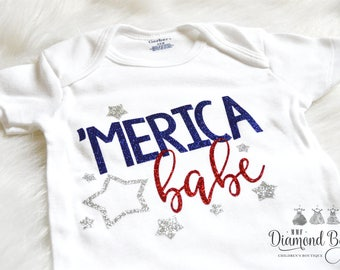 SALE ITEM 4th of July Onesie,Size 6-9M, 4th of July, Merica Babe