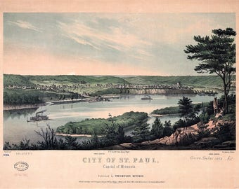 ST. Paul Minn Panoramic Map dated 1853. This print is a wonderful wall decoration for Den, Office, Man Cave or any wall.