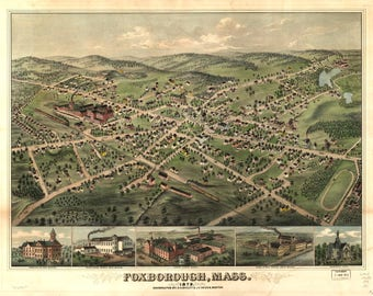 Foxoborough Mass Panoramic Map dated 1879. This print is a wonderful wall decoration for Den, Office, Man Cave or any wall.