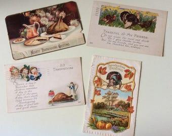 Antique Thanksgiving Postcards/Ellen H. Clappsaddle/German Postcard/Vintage Postcards/1920's Postcards/Thanksgiving Emphera/Holiday Emphera