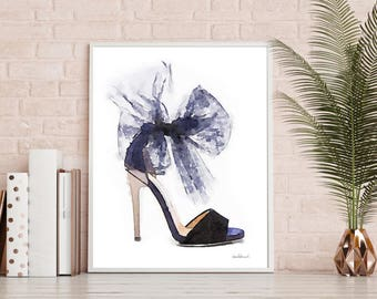 Navy blue shoes fashion watercolor shoes, high heels, fashion illustration, shoe art, shoe art, high heels, fashion print, fashion art, gift