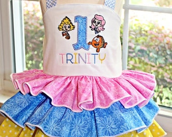 Bubble Guppies Birthday outfit- Baby Girls-Toddler Girls- Ruffled Bubble Guppies Birthday Dress, Any Birthday Number-  12m 18m 2t 3t 4t 5
