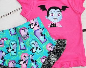 Girls Vampirina Shirt- Toddler girls Vampirina Shirt- Vampirina outfit- Vampirina Shorts- Vampirina Birthday-  12m, 18m, 2t, 3t, 4, 5, 6, 8