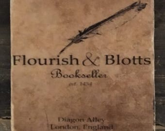 Flourish & Botts HP Distressed Store Sign- Coaster or Decor Accent