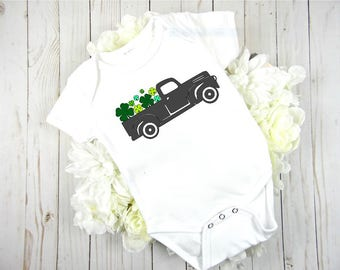 st patricks day clover truck//four leafed clovers//first st patricks day//baby shower gift//