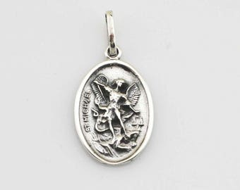 Guardian Angel with Saint Michael Medal, Sterling Silver St Michael Archangel with Our Guardian Angel Necklace, Double Sided Angel Medal