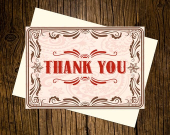 Western Thank You Note Cards Custom Printed Handmade Stationery Set of 12 Red Brown Vintage Ecru Rustic Cowboy Cowgirl