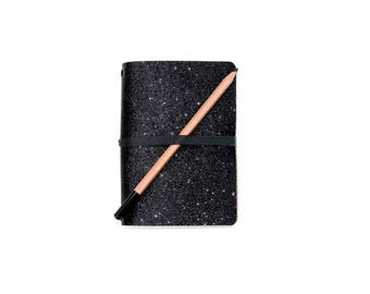 Modern Black Glitter B6 Notebook Cover. Quad Binding Holds multiple B6 Journals, Hobonichi Techo, B6 Planners, B6 Travelers Notebook Inserts