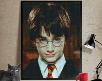 Harry Potter Cross stitch pattern modern.  Harry Potter cross stitch DPF pattern .Patrón Harry Potter punto de cruz moderno descargable PDF