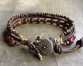 Bohemian bracelet boho chic bracelet gypsy womens jewelry boho bracelet boho chic jewelry gemstone bracelet rustic bracelet leather bracelet