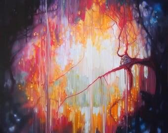 LARGE ORIGINAL Oil Painting - Jungle Portal - the leopard's realm