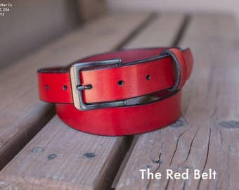 The Red Belt   Red Leather Belt   Men's Fashion Belt   Handmade in the U.S.A.
