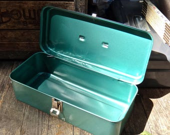 Tool Box, Green Tool Box, Tool Caddy, Photo Prop, Tackle Box, Industrial, Man Cave, Storage, Green Metal Box, Hardware, Caddy, Dude Find