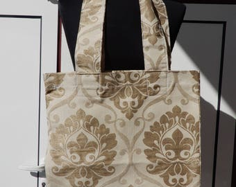 Big size handmade tote bag shopping bag market bag handbag vintage print