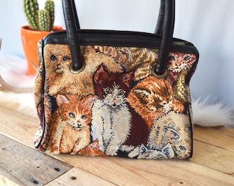 Vintage Cat Tapestry Handbag/Purse