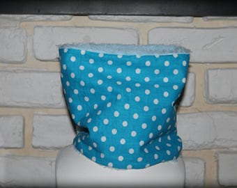 snood or scarf in white, blue polka dot snap