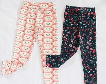 FALL LEGGINGS, cat legging, floral leggings, baby leggings, toddler leggings, girls leggings
