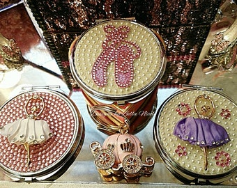 Custom Pink Ballet Shoes Double sided Magnification Pearl Compact Mirror