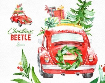 Christmas Beetle. Watercolor holiday clipart, vintage, retro car, winter, red, Christmas tree, floral wreaths, xmas, merry, holly, greetings