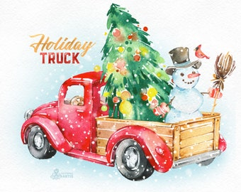 Holiday Truck. Watercolor Christmas clipart, vintage, retro truck, gifts, winter, Christmas tree, snowman, wreath, xmas, merry, greetings