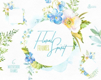 Floral Spirit. Frames. Watercolor floral clipart, pre-made, spring, viola, pansy, template, fern, wedding, snowdrop, flourish, blue, green