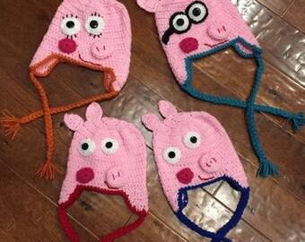 Crocheted Peppa Pig family hats, kids cartoon hat, costume topper, Peppa Pig fan gift, handmade hat, pink pig hat, Peppa Pig family costume