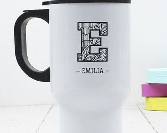 SUMMER SALE Zentangle Initial Travel Mug - Personalised - Insulated Mug - Zentangle - Mum Gift - Teenager Gift