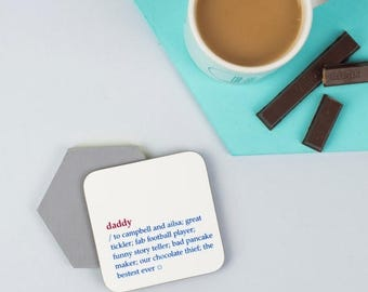 ON SALE Daddy Dictionary Definition Coaster - Personalised Coaster - Custom Gift  - Dictionary - Gift For Teacher
