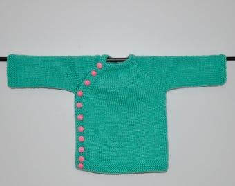Green Hand Knit Baby Cardigan