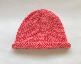 Baby Hat Hand Knit, Baby Beanie, Lightweight Baby Hat - Pink (0 - 6 Months)