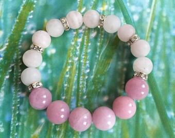 Rose Quartz and Pink Jade Bracelet