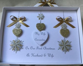 Personalised Gift Boxed Christmas Holiday Card Handmade Gold Silver Husband Wife Boyfriend Girlfriend Fiance Fiancée First Mum Dad Hearts