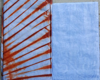 Hand-dyed African Blue and Brown tie-dye Damask 5-yd pack from Mali (aka Bazin and Brocade)