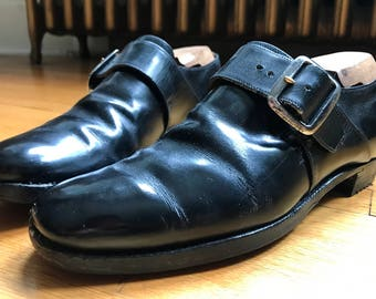 Church's Custom Grade Black Leather Westbury Monk Strap Shoes 7D