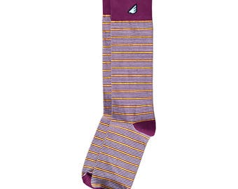 "Maroon, Gold & White Stripe Socks - Casual / Dress for Men and Women, Unique Fun Crazy Colorful - ""Sidekick"" Father's Day Gift for Dad"