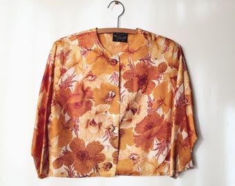 1960s Vintage Crepe Floral Jacket