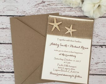 Beach wedding invitation, starfish pearl wedding invitation, destination wedding invitation, starfish invitation, rustic beach invitation