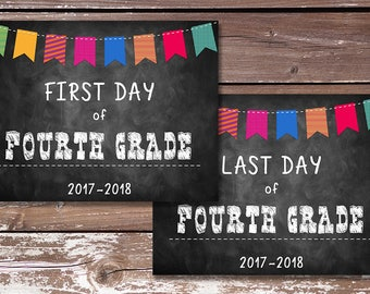 First Day of Fourth Grade Sign/Last Day of Fourth Grade Sign-PRINTABLE - First Day of School, Photo Prop, Chalkboard Sign - Instant Download