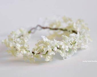 White cream flower crown Toddler, Baby hair wreath, Floral crown toddler, Baby girl photo props, 1st Birthday props, Christening headband